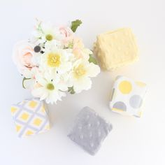 Soft Stackable Blocks- Yellow & Gray by MunchkinLaneBoutique on Etsy