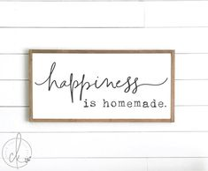 Kitchen sign happiness is homemade sign wood sign Farmhouse Style Kitchen, Modern Farmhouse Kitchens, Farmhouse Decor, Farmhouse Kitchen Signs, Signs For Kitchen, Primitive Kitchen, Country Kitchens, Farmhouse Interior, Rustic Kitchen