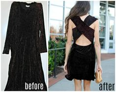 Trash to Couture: Refashioned long sleeve maxi into criss cross dress