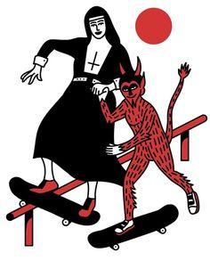 Vintage Tattoo Sleeve, Beauty And The Beast Tattoo, Japanese Art Modern, Satanic Art, Psy Art, Arte Obscura, Skate Art, Tattoo Graphic, Grunge Photography