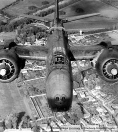 """Aerial view taken above an aircraft A-20 """"Havoc"""", location unknown. No bands on the upper surfaces invasion."""