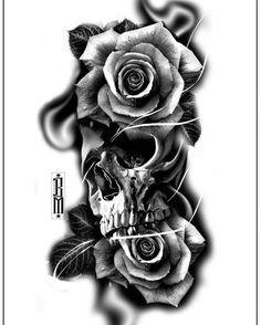 #skull #roses #rose #tattoo #design #digital #blackandgrey #bg #tattoos