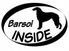 Hund Inside Auto AufkleberInside Aufkleber: Barsoi - Borsoi - Barzoi