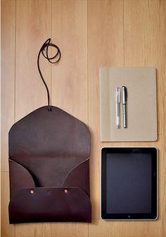 MEDIUM leather 'possibles' envelope