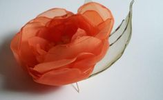 Sew on shawlpillowshoebagetcOrganza flowertangerine by svetoks, $16.00