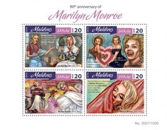MLD16403a 90th anniversary of Marilyn Monroe (Marilyn Monroe (1926-1962), Norma Jean dyes her hair blonde and changes her name to Marilyn Monroe in 1946,; Marilyn Monroe as Valentine Cowgirl, 1951, The title of Miss Cheesecake, 1952; With mandolin by Milton H. Greene, 1953, From Ballerina session, 1954; The Last Sitting is a photo shoot of Marilyn Monroe by photographer Bert Stern in late June 1962, just six weeks before her death)