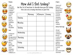 Feelings ChartFree Printable  Therapy IdeasResourcesTools