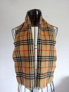 Burberry scarf cashmere Vintage scarf Warm scarf Winter scarf Scarf with tassels Fashion scarf Original Scarf Burberry Plaid scarf