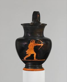 Terracotta oinochoe (jug) Archer, probably Odysseus  In the Odyssey, Homer recounted the homecoming of the Greek hero Odysseus after years of wandering at the end of the Trojan War. He found his house filled with suitors for the hand of his wife, Penelope, and managed single-handedly to kill them with his powerful bow and arrows. The archer on this vase probably can be identified as Odysseus, because of his obviously unkempt hair, an indication of the vicissitudes the hero had undergone.