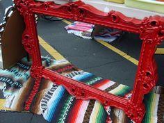 "Vintage Ornate Red Mirror 27"" x 40"" Victorian Syroco Paris Apartment"