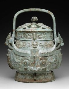 chinese bronze wine vessel, neolithic.food and wine for the dead - just imagine how old this is
