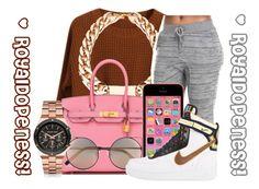 """Trendy_Beauty!"" by royaldopeness ❤ liked on Polyvore featuring mode, Chicnova Fashion, Hermès, Linda Farrow, NIKE, Michael Kors, cute, simple, 2015 en royal_dopeness"