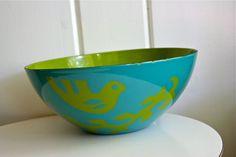 Vintage Hanova Pasadena Bird Bowl Birds Green Teal Aqua