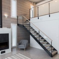 Grado Kaita Polished Concrete Tiles, Stair Railing Design, Floating Staircase, House Stairs, Farmhouse Interior, Log Homes, House Rooms, Living Spaces, House Plans