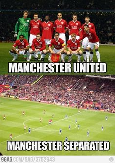 my favorite European football team. and it's hilarious Funny Soccer Memes, Funny Jokes, Soccer Humor, Funny Minion, It's Funny, Image Foot, Manchester United, Manchester Football, I Laughed