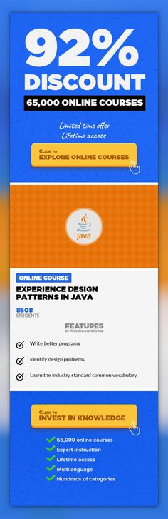 """Experience Design Patterns In Java Software Engineering, Development  Learn to write better software by understanding common problems and applying design patterns for a better solution. Boost your software designs by taking this content-rich and hands on fully featured training course. This course will give you insight in the more than 20+ design patterns from the book """"Design Patterns: Elements o..."""