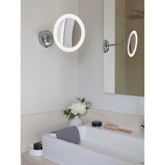 Astro Mascali Round LED is a magnifying mirror light with a magnification and two finish options. The mirror light is rated at allowing you to install in bathrooms (zone 2 and Mirror With Led Lights, Bathroom Mirror Lights, Led Mirror, Wall Mirror, Contemporary Bathroom Accessories, Forma Circular, Led Röhren, Magnifying Mirror, Wall Fixtures