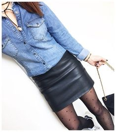 50 Leather Skirt Outfit Ideas For Every Fashionista Girl Fashion Style, Look Fashion, Fashion Outfits, Womens Fashion, Fashion Ideas, Winter Skirt Outfit, Skirt Outfits, Casual Outfits, Looks Camisa Jeans