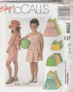 McCall's 2566 Size 6-7-8 Children's and Girls' Dress, Rompers, Top and Pull-On Shorts Sewing Pattern 2000 Uncut by LadybugsandScorpions on Etsy