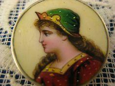 Hand-Painted-Enamel-LIMOGES-LADY-PORTRAIT-PIN-Art-Nouveau-Brooch