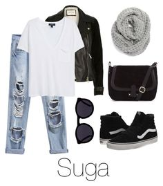 """""""Airport Fashion: Suga"""" by btsoutfits ❤ liked on Polyvore featuring River Island, MANGO, Halogen, Le Specs and Vans"""