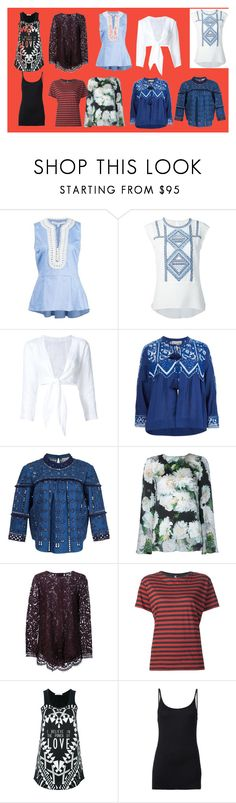 """tops"" by monica022 ❤ liked on Polyvore featuring Veronica Beard, Lisa Marie Fernandez, Sea, New York, ADAM, R13, Givenchy, ATM by Anthony Thomas Melillo and vintage"