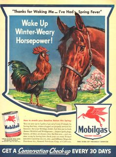 1943 Mobil Oil and Gas print ad Rooster wakes horse by Vividiom, $9.00