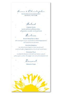 Unique Wedding Menu on Seed Paper ~ Sunflower by ForeverFiances Weddings (Yellow, Buddha blue)