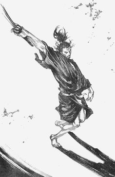 """The amazing Miyamoto Musashi from Takehiko Inoue's """"Vagabond"""".  From the article - """"Samurais and Fortune - Strength and Girl Power Go Hand-in-Hand."""""""