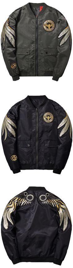 283 best customised jackets waist coat ideas images denim jackets  free shipping \u0026 new arrival baseball coat mens vintage gold wings embroidery bomber flight jakcet fashion
