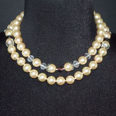 Classic Double Glass Pearls Crystal Ascent Necklace