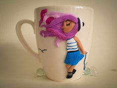 Mug decorated with polymer clay Nautical style Personalized mug Cup decor Cute teacup Romantic coffee cup Unique design mug sailor girl