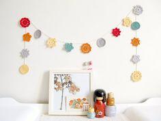 Crochet garland, Peggy flower bunting, Nursery decor by Emma Lamb