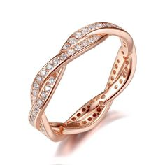 925+Sterling+Silver+Twist+Of+Fate+Clear+CZ+Women+Rings+Birthday+Gift+