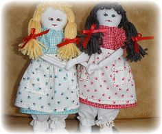 #christmasinjuly HALF PRICE SALE Handmade Cloth Dolls from Vintage by AStitchInTimewithSue, $11.25