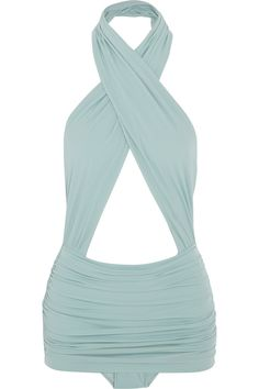Norma Kamali Mio ruched crossover swimsuit in seafoam green. Summer Of Love, Summer Wear, Lingerie, Sweet Style, My Style, Corset, Norma Kamali, Fashion Articles, Beach Wear