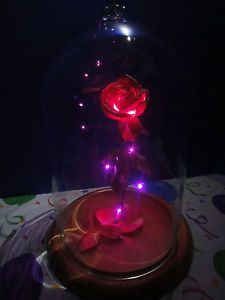 BEAUTY AND THE  BEAST ROSE DISNEY ENCHANTED FAIRYTALE INSPIRED BELLE LOVED GLASS