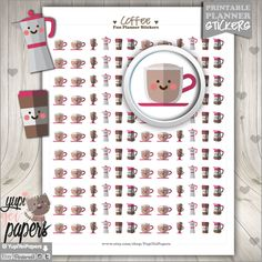 50%OFF - Coffee Stickers, Planner Stickers, Printable Planner Stickers, Coffee Cup Stickers, Stickers, Planner Accessories, Cute