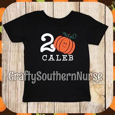 Cute Personalized Custom Name Age Pumpkin Birthday Youth Toddler Infant Shirt Glitter Option Fall Halloween Punkin Patch Autumn by CraftySouthernNurse