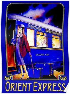 'ORIENT EXPRESS: Vintage Train Passenger Travel Print' Poster by posterbobs - Vintage & Art Deco illustration prints & posters Train Posters, Railway Posters, Orient Express, Art Deco Posters, Poster Prints, Poster Poster, Trains, Maya, Art Deco Illustration