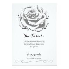 Minimalist Vintage Rose Wedding Details Card - white gifts elegant diy gift ideas