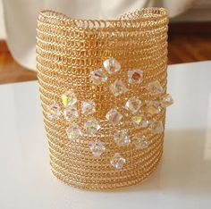 Bridal cuff wire crochet handmade bracelet with  by KvinTal, $92.00