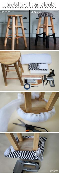 Those old bar stools are in perfect condition and all they need is a little face lift! DIY an easy padded seat with foam and printed fabric and paint the legs for an updated look! This whole project will take under a whole hour to complete! http://www.ehow.com/how_5558110_upholster-bar-stools.html?utm_source=pinterest.com&utm_medium=referral&utm_content=freestyle&utm_campaign=fanpage