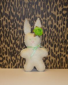 White chocolate Easter felt bunny green paper by AnimalPrintsLOL, $9.00