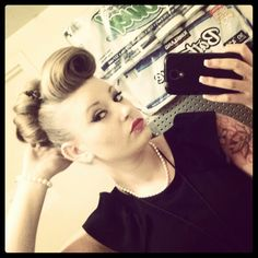 Pin up bangs, retro vintage hair style