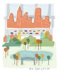 New York City art print illustration  8x10  NYC by confettielove, $14.00