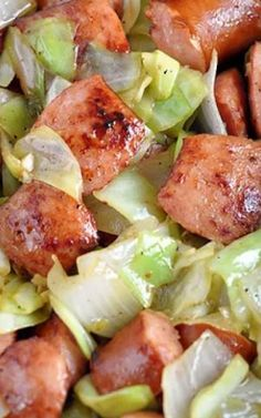 Slow Cooker Kielbasa and Cabbage: A simple meal of polish sausage and cabbage cooked in a slow cooker. Ingredients 1 head cabbage, diced 2-3 potatoes, chopped 1 onion, diced 14 oz Kielbasa sausage, sliced 1 cup chicken broth 1/2 teaspoon garlic powder 1/2