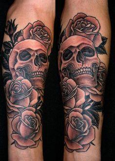 Skull And Roses Tattoos #skulltattoos #skulltattoodesigns http://tattoodesignsdo.com/skull-tattoo-designs/