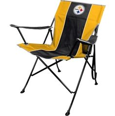 Let your team spirit show at every tailgate with the Rawlings® Pittsburgh TLG8 Chair. This team-colored folding chair features a printed Steelers logo on the front and the back of the seat, showcasing your loyalty for the team. The left armrest includes a standard sized mesh cup holder so you can enjoy your favorite beverage while you watch the team play. Transportation from one spot to the next is easy with the team logo carrying case.