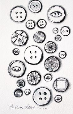 Button love by Alisa Burke Button Tattoo, Button Art, Alisa Burke, Object Drawing, Types Of Buttons, Zen Art, Inspiration Wall, Sketch Design, Doodle Art